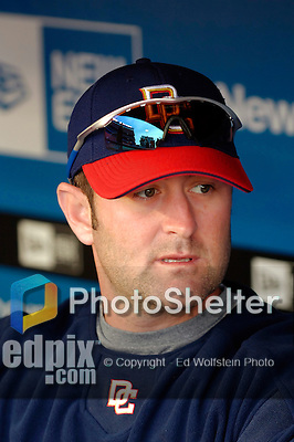 3 April 2006: Brian Schneider, catcher for the Washington Nationals, sits in the dugout prior to the Opening Day game against the New York Mets at Shea Stadium, in Flushing, New York. The Mets defeated the Nationals 3-2 to lead off the 2006 MLB season...Mandatory Photo Credit: Ed Wolfstein Photo..