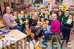 Colman Quirke from Quirke's Newsagents Cahersiveen presenting book to the children of Aghatubrid NS on Friday with left Sinead Lynch(Chairperson Parents Association) & Sinead O'Sullivan(Principal).  This is part of a 5 year plan where Colman hopes to visit all schools in South Kerry to encourage reading amongst primary school pupils.