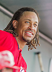 10 March 2015: Washington Nationals infielder Emmanuel Burriss sits in the dugout prior to a Spring Training game against the Miami Marlins at Roger Dean Stadium in Jupiter, Florida. The Marlins edged out the Nationals 2-1 on a walk-off solo home run in the 9th inning of Grapefruit League play. Mandatory Credit: Ed Wolfstein Photo *** RAW (NEF) Image File Available ***