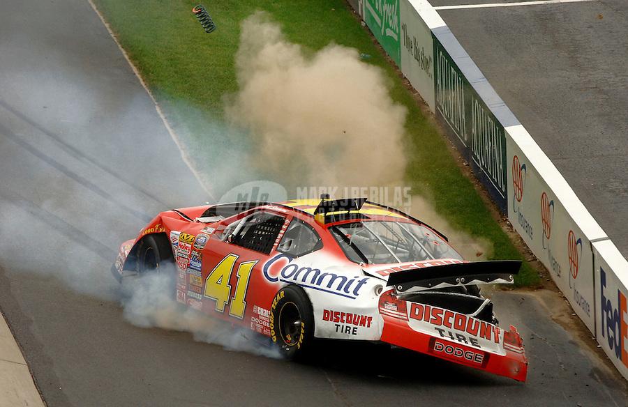 Sept. 23, 2006; Dover, DE, USA; Nascar Busch Series driver Reed Sorenson (41) crashes at the checkered flag during the Dover 200 at Dover International Speedway. Mandatory Credit: Mark J. Rebilas