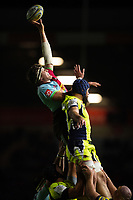Charlie Matthews of Harlequins rises high to win lineout ball. Aviva Premiership match, between Harlequins and Sale Sharks on October 6, 2017 at the Twickenham Stoop in London, England. Photo by: Patrick Khachfe / JMP
