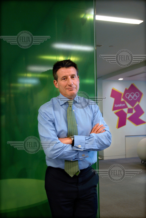 A portrait of politician and former athlete Lord Sebastian Coe at the offices of the London 2012 Olympic Games at One Churchill Place in Canary Wharf, London. Coe was the head of the London bid for the 2012 Olympics and became the chairman of the Organising Committee when London won the bid in 2005.