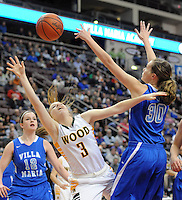 Archbishop Wood's Shannon May #3 drives for the net as Villa Maria's Madison Demski #30 defends in the first quarter of the girls basketball PIAA Class AAA state championship game Saturday March 19, 2016 at the Giant Center in Hershey, Pennsylvania (Photo By William Thomas Cain)