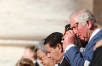 Britain's Prince Charles attend a Mass celebrated by the Pope for the canonization of the blessed Giovanni Enrico Newman, Giuseppina Vannini, Maria Teresa Chiramel Mankidiyan, Dulce Lopes Pontes and Margarita Bays, in St. Peter's Square at the Vatican, October 19, 2019. UPDATE IMAGES PRESS/Riccardo De Luca <br /> <br /> STRICTLY ONLY FOR EDITORIAL USE