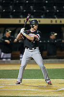 Justin Lebek (7) of the Davidson Wildcats at bat against the Wake Forest Demon Deacons at David F. Couch Ballpark on February 28, 2017 in Winston-Salem, North Carolina.  The Demon Deacons defeated the Wildcats 13-5.  (Brian Westerholt/Four Seam Images)