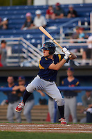 State College Spikes outfielder Craig Aikin (12) at bat aduring a game against the Batavia Muckdogs August 22, 2015 at Dwyer Stadium in Batavia, New York.  State College defeated Batavia 5-3.  (Mike Janes/Four Seam Images)