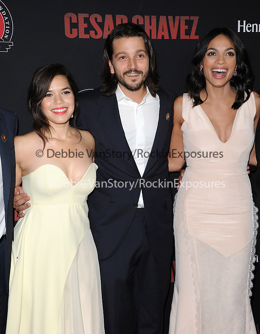 America Ferrera , Diego Luna and Rosario Dawson  attends The  Cesar Chavez Los Angeles Premiere held at TCL Chinese Theatre in Hollywood, California on March 20,2014                                                                               © 2014 Hollywood Press Agency