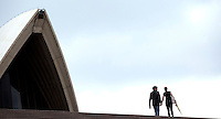 14 SEP 2009 - SYDNEY, AUS - Visitors walk up the steps of Sydney Opera House (PHOTO (C) NIGEL FARROW)