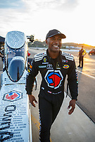 Nov 10, 2017; Pomona, CA, USA; NHRA top fuel driver Antron Brown during qualifying for the Auto Club Finals at Auto Club Raceway at Pomona. Mandatory Credit: Mark J. Rebilas-USA TODAY Sports