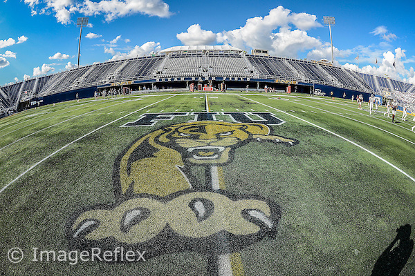 19 September 2015:  The logo at the center of Ocean Bank Field as the FIU Golden Panthers defeated the North Carolina Central University Eagles, 39-14, at FIU Stadium in Miami, Florida.
