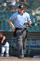 Home plate umpire Brad Myers during a game between the Rochester Red Wings and Durham Bulls at Frontier Field on June 21, 2012 in Rochester, New York.  Durham defeated Rochester 14-8.  (Mike Janes/Four Seam Images)