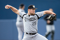 Western Michigan Broncos pitcher Zach Mehelich (29) delivers a pitch to the plate against the Michigan Wolverines on March 18, 2019 in the NCAA baseball game at Ray Fisher Stadium in Ann Arbor, Michigan. Michigan defeated Western Michigan 12-5. (Andrew Woolley/Four Seam Images)