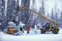 Zoom boom assists sculptors in the World Ice Art Championships held each march in Fairbanks, Alaska