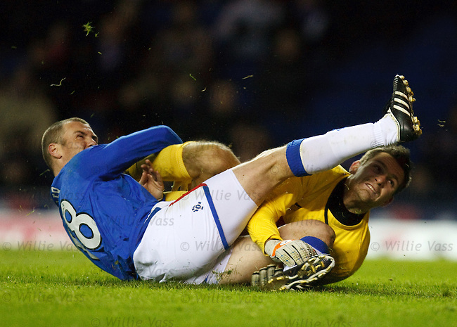 Kenny Miller takes a boot in the face from Tomas Cerny