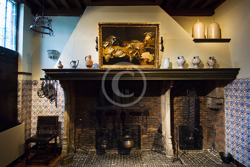 Belgium, Antwerp, Rubens House, fireplace