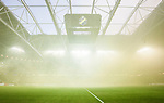 Solna 2015-08-10 Fotboll Allsvenskan AIK - Djurg&aring;rdens IF :  <br /> Vy &ouml;ver Friends Arena under pausen med r&ouml;k efter att AIK:s supportrar eldat med bangaler inf&ouml;r den andra halvleken av matchen mellan AIK och Djurg&aring;rdens IF <br /> (Foto: Kenta J&ouml;nsson) Nyckelord:  AIK Gnaget Friends Arena Allsvenskan Djurg&aring;rden DIF inomhus interi&ouml;r interior supporter fans publik supporters r&ouml;k bengal bengaler