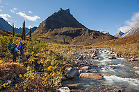 Backpackers along Arrigetch creek and the prominent peak of Elephants Tooth, as viewed looking east from the creek, Gates of the Arctic National Park, Alaska.
