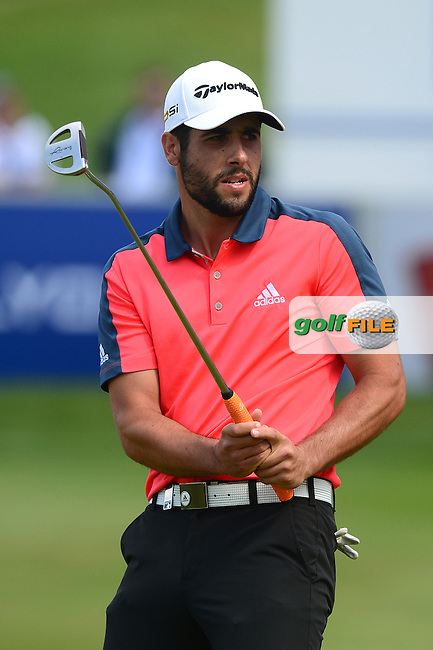 Adrian Otaegui of Spain reacts to a putt on the 18th green during Round 4 of the Lyoness Open, Diamond Country Club, Atzenbrugg, Austria. 12/06/2016<br /> Picture: Richard Martin-Roberts / Golffile<br /> <br /> All photos usage must carry mandatory copyright credit (&copy; Golffile | Richard Martin- Roberts)