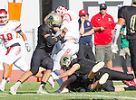 Palos Verdes, CA 10/21/16 - Jack Alexander (Redondo Union #7), Marcello Merola (Peninsula #8) and Jacob Hangartner (Peninsula #11) in action during the CIF Southern Section Bay League Redondo Union - Palos Verdes Peninsula game at Peninsula High School.