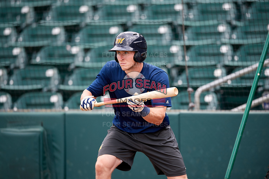 Montgomery Biscuits Alec Sole (11) bunts during batting practice before a game against the Mississippi Braves on April 24, 2017 at Montgomery Riverwalk Stadium in Montgomery, Alabama.  Montgomery defeated Mississippi 3-2.  (Mike Janes/Four Seam Images)
