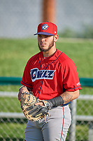 Jeans Flores (13) of the Orem Owlz before the game against the Ogden Raptors at Lindquist Field on July 27, 2019 in Ogden, Utah. The Raptors defeated the Owlz 14-1. (Stephen Smith/Four Seam Images)