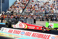 Sept. 22, 2013; Ennis, TX, USA: NHRA top fuel dragster driver Doug Kalitta during the Fall Nationals at the Texas Motorplex. Mandatory Credit: Mark J. Rebilas-