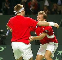 05-03-2006,Swiss,Freibourgh, Davis Cup , Swiss-Netherlands, Yves Allegro-George Bastl winnind the dubbels