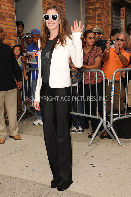 WWW.ACEPIXS.COM . . . . . .August 18, 2011...New York City...Anne Hathaway visits The Daily Show with Jon Stewart on August 18, 2011 in New York City.....Please byline: KRISTIN CALLAHAN - ACEPIXS.COM.. . . . . . ..Ace Pictures, Inc: ..tel: (212) 243 8787 or (646) 769 0430..e-mail: info@acepixs.com..web: http://www.acepixs.com .