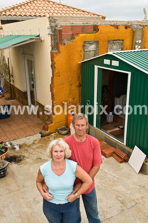 **ALL ROUND PICTURES FROM SOLARPIX.COM**.**WORLDWIDE SYNDICATION RIGHTS**.Pictures show Len and Helen Prior on the site of their demolished home in Vera, Almeria, Spain. They are now living in the garage which is the only structure that was left standing after the demolition...JOB REF: 6362 BHY  DATE: 09_05_2008.**MUST CREDIT SOLARPIX.COM OR DOUBLE FEE WILL BE CHARGED* *UNDER NO CIRCUMSTANCES IS THIS IMAGE TO BE REPRODUCED FOR ANY ONLINE EDITION WITHOUT PRIOR PERMISSION*
