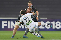 Remi Lamerat of Clermont tackles Dan Baker of Ospreys during the Champions Cup Round 1 match between Ospreys and Clermont at The Liberty Stadium, Swansea, Wales, UK. Sunday 15 October 2017