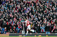 Arsenal's Pierre-Emerick Aubameyang celebrates scoring the opening goal in front on the home fans<br /> <br /> Photographer David Shipman/CameraSport<br /> <br /> The Premier League - Arsenal v Burnley - Saturday 22nd December 2018 - The Emirates - London<br /> <br /> World Copyright © 2018 CameraSport. All rights reserved. 43 Linden Ave. Countesthorpe. Leicester. England. LE8 5PG - Tel: +44 (0) 116 277 4147 - admin@camerasport.com - www.camerasport.com