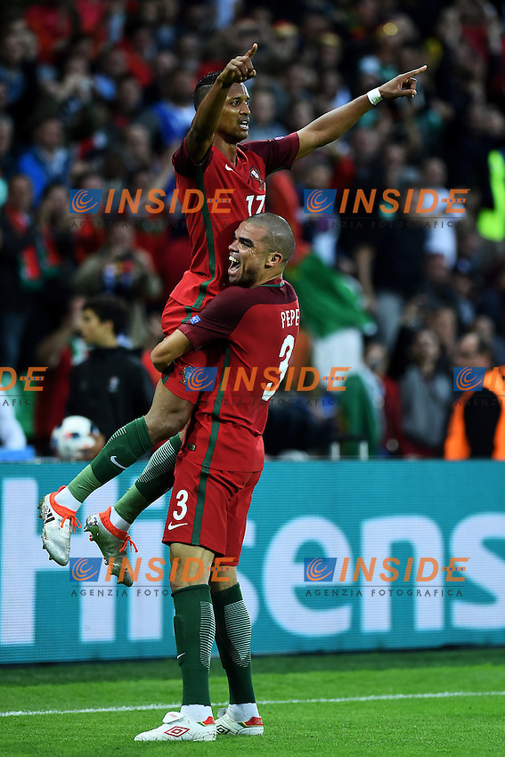 Nani celebrates scoring with Pepe Esultanza Gol <br /> Saint-Etienne 14-06-2016 Stadium Geoffroy-Guichard Football Euro2016 Portugal-Iceland / Portogallo-Islanda Group Stage Group F<br /> Foto Massimo Insabato / Insidefoto