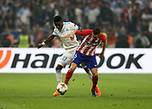 16th May 2018, Stade de Lyon, Lyon, France; Europa League football final, Marseille versus Atletico Madrid; Bouna Sarr of Marseille challenges Sime Vrsaljko of Atletico Madrid