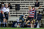 Baden Kerr converts the Selwyn try. ITM Cup rugby game between Counties Manukau and Manawatu played at Bayer Growers Stadium on Saturday August 21st 2010..Counties Manukau won 35 - 14 after leading 14 - 7 at halftime.