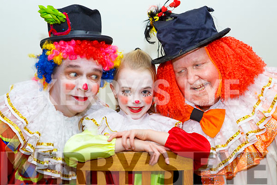 Three generations of clowns Sienna Conlon Mills with her father Stephen Mills and grandfather George Mills for Killorglin Panto Pinochio which which will run from January 20th-28th