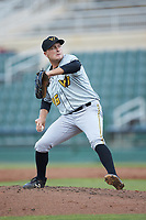 West Virginia Power relief pitcher Beau Sulser (46) in action against the Kannapolis Intimidators at Kannapolis Intimidators Stadium on July 25, 2018 in Kannapolis, North Carolina. The Intimidators defeated the Power 6-2 in 8 innings in game one of a double-header. (Brian Westerholt/Four Seam Images)