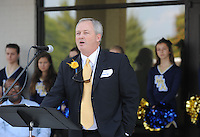 NWA Democrat-Gazette/ANDY SHUPE<br /> Pierce Osborne, president of the Haas Hall Academy School Board, speaks Tuesday, Sept. 22, 2015, during a dedication ceremony for the Haas Hall Academy Starr Scholar Center in Fayetteville. The newly renovated facility is located at 380 N. Front Street and is named in honor of Billie Jo Starr and her family.