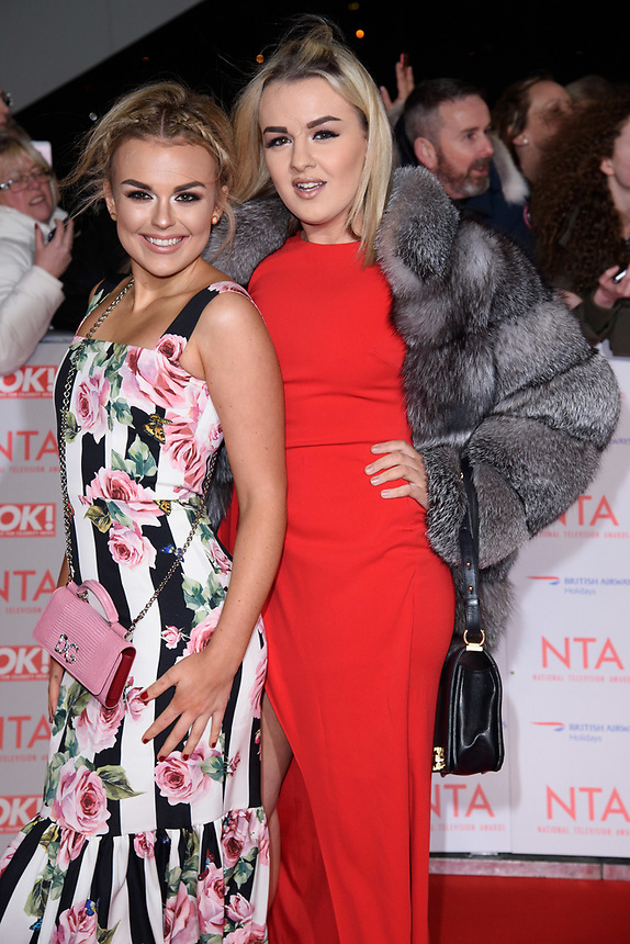 Tallia Storm and sister<br /> arriving for the National Television Awards 2018 at the O2 Arena, Greenwich, London<br /> <br /> <br /> ©Ash Knotek  D3371  23/01/2018