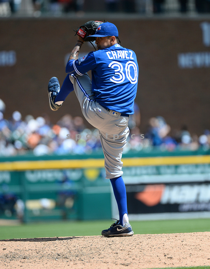 Toronto Blue Jays Jesse Chavez (30) during a game against the Detroit Tigers on June 8, 2016 at Comerica Park in Detroit MI. The Blue Jays beat the Tigers 7-2.
