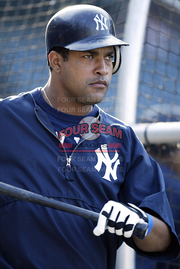 Raul Mondesi of the New York Yankees before a 2002 MLB season game against the Los Angeles Angels at Angel Stadium, in Anaheim, California. (Larry Goren/Four Seam Images)