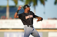 Jupiter Hammerheads third baseman James Nelson (20) throws to first base during a Florida State League game against the Bradenton Marauders on April 20, 2019 at LECOM Park in Bradenton, Florida.  Bradenton defeated Jupiter 3-2.  (Mike Janes/Four Seam Images)