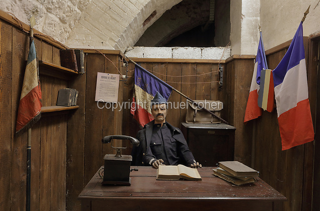 Reconstruction of the command post of Major Sylvain-Eugene Raynal, in the Fort de Vaux, built 1881-84 and reinforced in 1888, at Vaux-devant-Damloup, near Verdun, Meuse, Lorraine, France. The fort was attacked by German soldiers on 2nd June 1916 during the Battle of Verdun in World War One and was the scene of heavy combat, but was recaptured by French infantry on 2nd November. Picture by Manuel Cohen