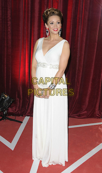 Lucy-Jo Hudson, wearing Tiffany Rose .attended the British Soap Awards 2013, Media City, Salford, Manchester, England, UK, 18th May 2013..arrivals full length pregnant maternity white long maxi dress sleeveless clutch bag diamante beaded silver bracelets earrings  dangly .CAP/CAN.©Can Nguyen/Capital Pictures.