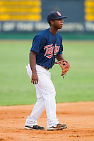 Shortstop Jamaal Hawkins #12 of the Elizabethton Twins on defense against the Kingsport Mets at Joe O'Brien Field August 14, 2010, in Elizabethton, Tennessee.  Photo by Brian Westerholt / Four Seam Images
