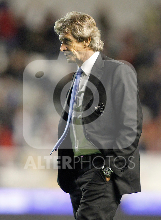 Malaga's coach Manuel Pellegrini during La Liga Match. October 26, 2011. (ALTERPHOTOS/Alvaro Hernandez)
