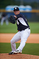 GCL Yankees 1 pitcher Taylor Garrison (73) delivers a pitch during a game against the GCL Yankees 2 on July 29, 2015 at the Yankee Minor League Complex in Tampa, Florida.  The game was suspended after two innings due to rain.  (Mike Janes/Four Seam Images)