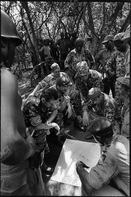 Mercenaries with Ibo soldiers civil war, Biafra, Nigeria, November 1968