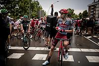 Steff Cras (BEL/Katusha-Alpecin) at the finish<br /> <br /> Stage 8: Valls to Igualada (167km)<br /> La Vuelta 2019<br /> <br /> ©kramon