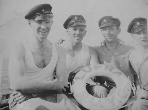 Howard Finlay (second left) and crew on board Lufra 1938 Photo: courtesy Paul Finlay