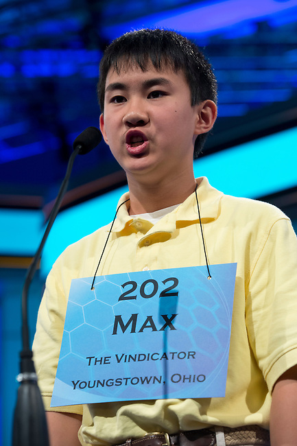 Speller 202 Max L. Lee competes in the preliminary rounds of the Scripps National Spelling Bee at the Gaylord National Resort and Convention Center in National Habor, Md., on Wednesday,  May 30, 2012. Photo by Bill Clark